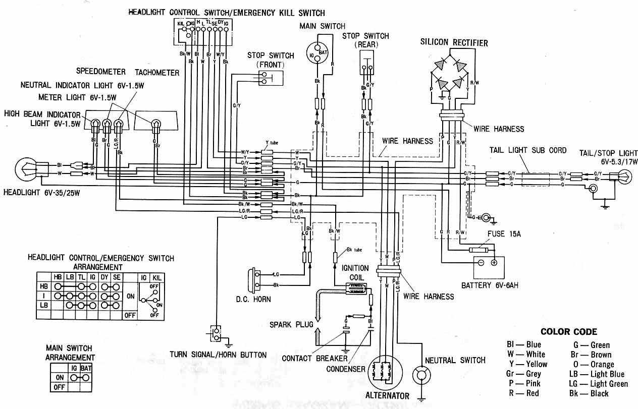 complete electrical wiring diagram of honda xl100 honda xl70 wiring diagram honda cb750 wiring diagram \u2022 free wiring Honda CB160 at bakdesigns.co