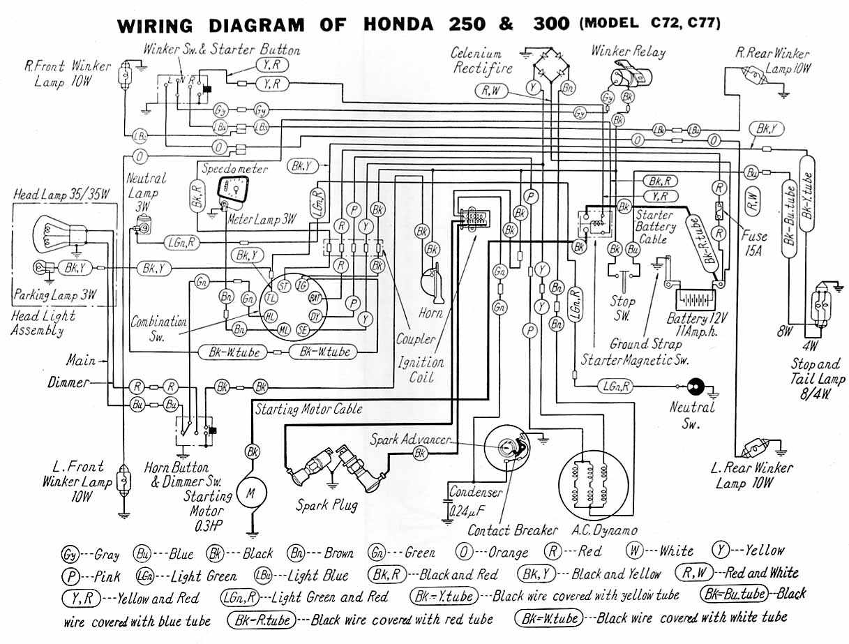 Honda Motorcycle Manuals Pdf Wiring Diagrams Fault Codes Yamaha Moto 4 Diagram Electrical Of C72 And C77
